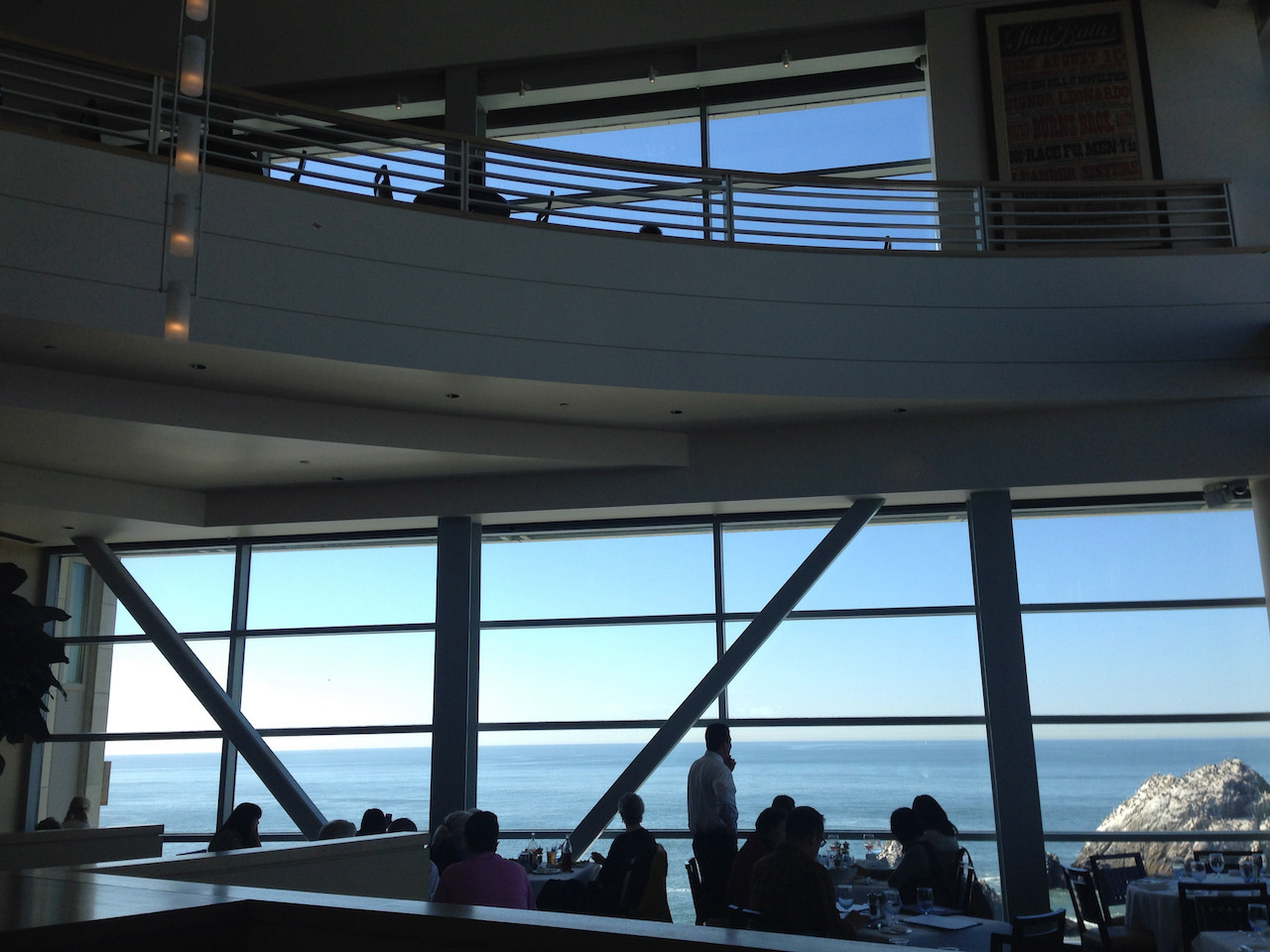 Sutro's, the fancier restaurant on the Cliff House's lower level. The balcony bar is visible at the top of the picture.